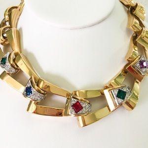 Givenchy Necklace Mogul Crystal Heavy Runway Gold